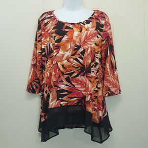 Notations M Top Orange Floral Leaves Tropical